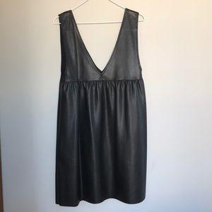 Zara Vegan Leather Pinafore Dress M